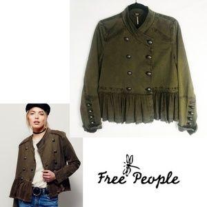 Free People Military Army Jacket – Olive, Peplum S
